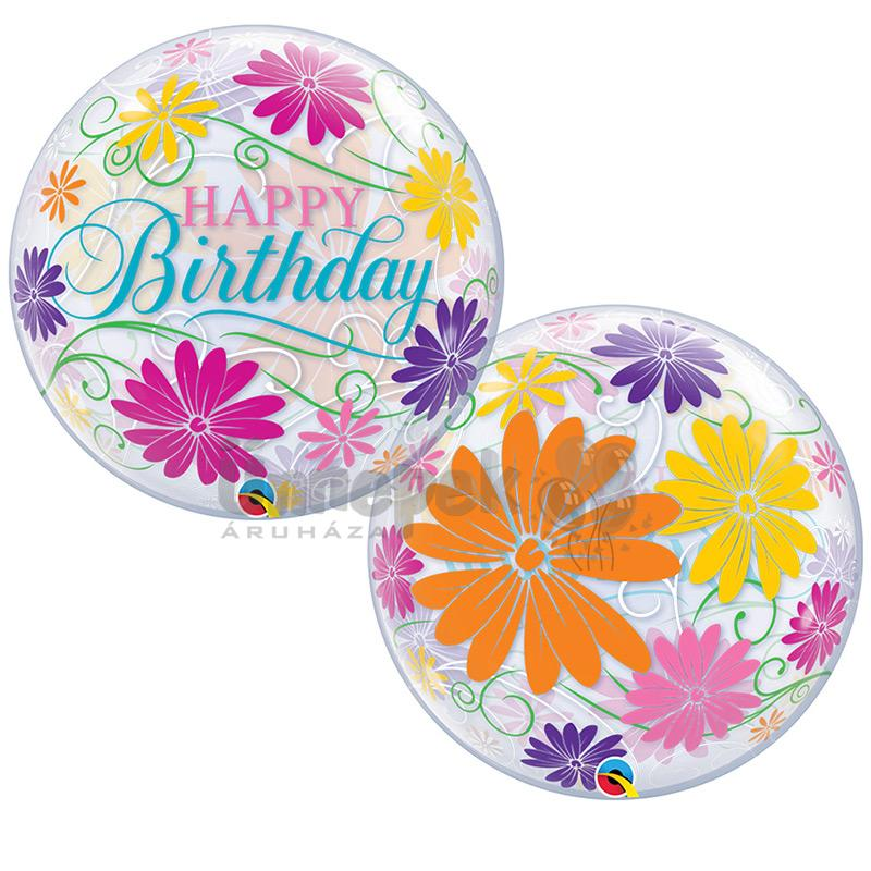 22 inch-es Birthday Flowers & Filigree Szülinapi Bubble Lufi