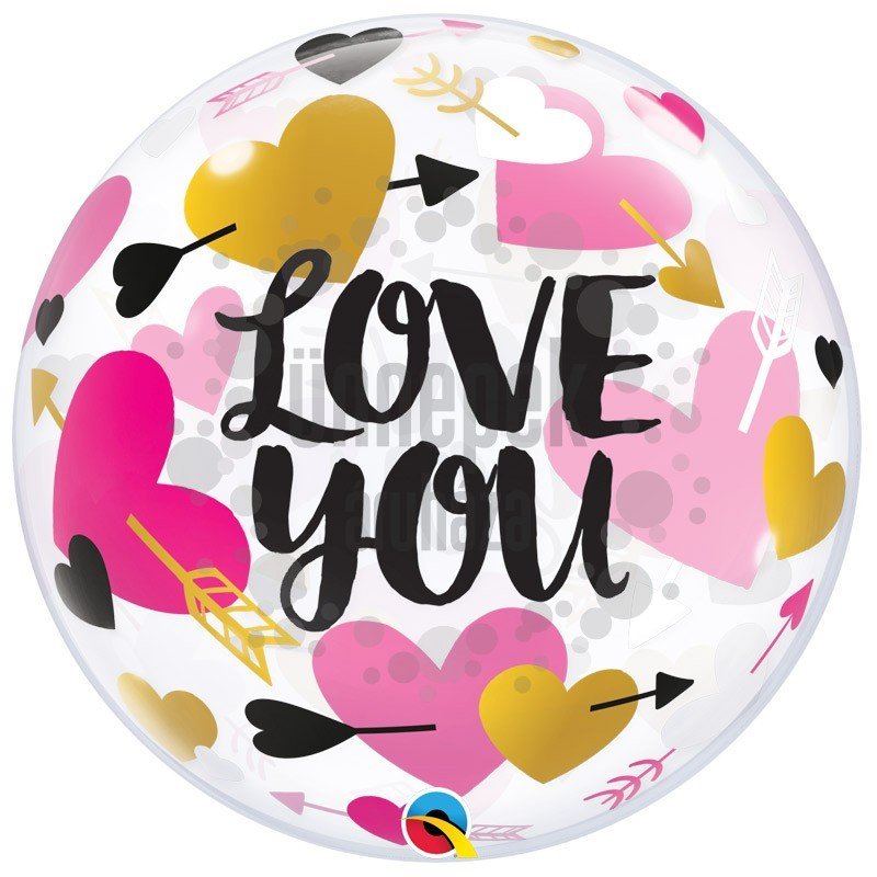22 inch-es Nyíllal Átlőtt Szív Mintás - Love You Hearts & Arrows Bubble Lufi Valentin