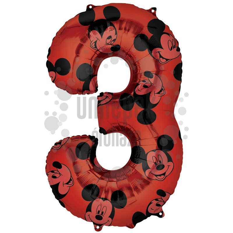 26 inch-es Mickey Egér - Mickey Mouse Mintás Number 3 Red Számos Fólia Lufi