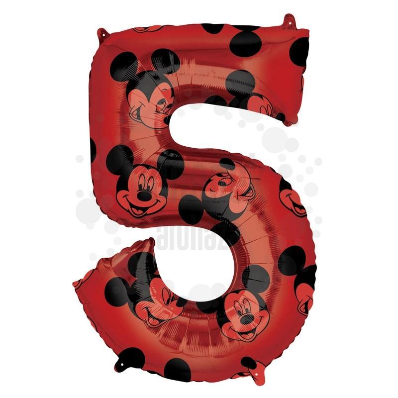 26 inch-es Mickey Egér - Mickey Mouse Mintás Number 5 Red Számos Fólia Lufi