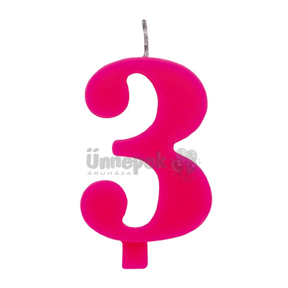 3-as Rózsaszín Szülinapi Számgyertya Tartóval