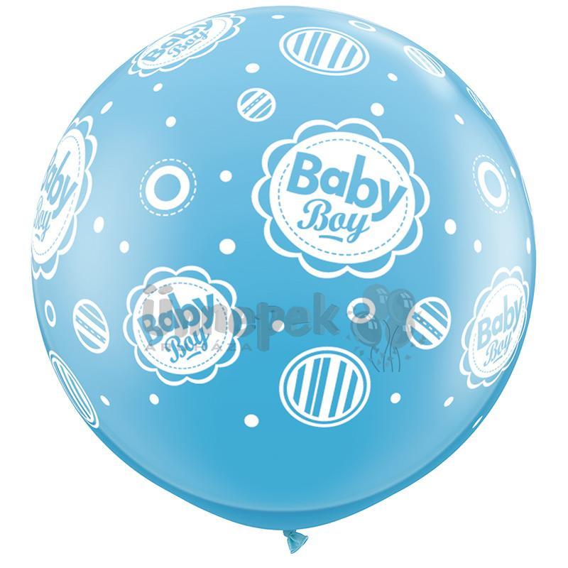 3 feet-es Baby Boy Dots A-Round Tengerkék Lufi (2 db/csomag)