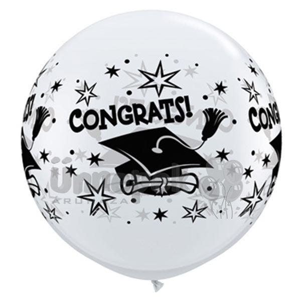 3 feet-es Congrats! Cap Wrap White Ballagási Lufi (2 db/csomag)