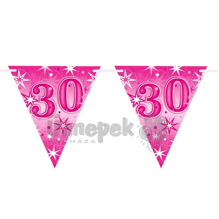 30-as Rózsaszín Sparkle Parti Zászlófüzér - 360 cm
