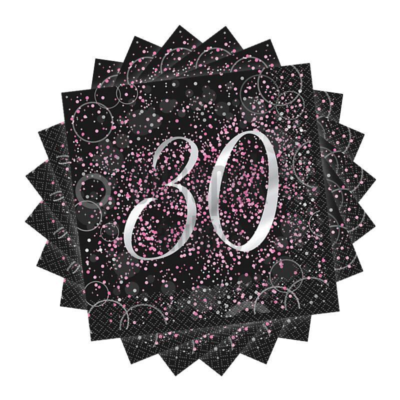30-as Számos Pink Glitz Parti Szalvéta - 33 cm x 33 cm, 16 db-os