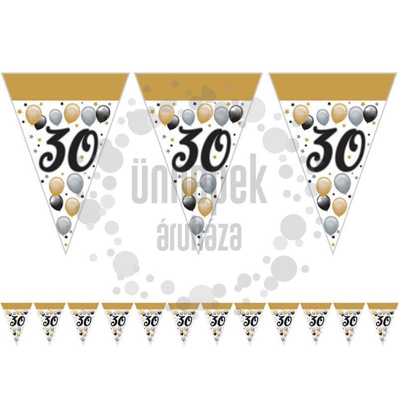 30-as Számos Szülinapi Elegáns Léggömbös Parti Zászlófüzér - 5 m
