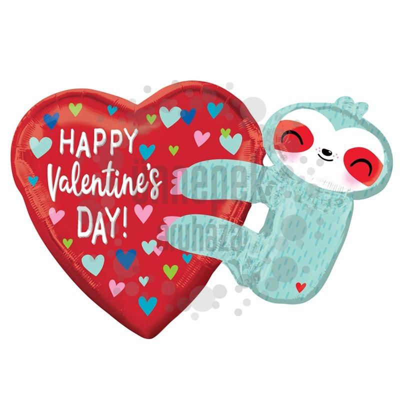 30 inch-es Happy Valentine's Day Lajhár Super Shape Fólia Lufi Valentin-napra