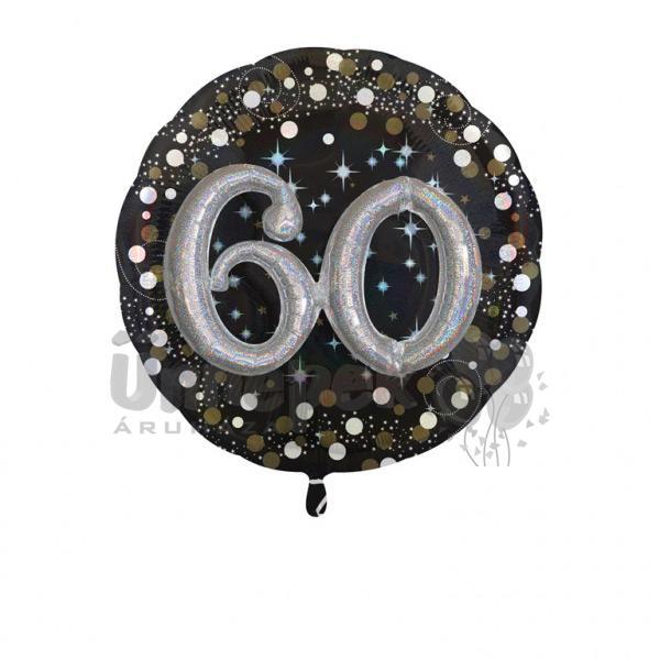 32 inch-es 3D - Sparkling Birthday 60 Super Shape Fólia Lufi