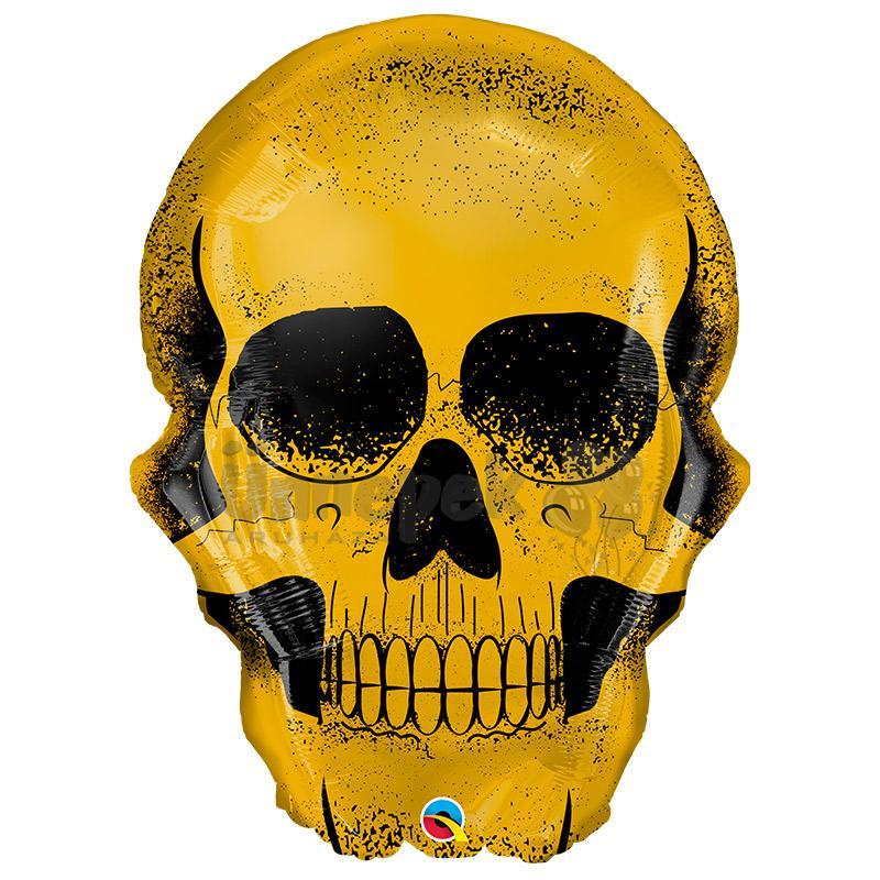 36 inch-es Golden Skull - Arany Koponya Halloween Fólia Lufi