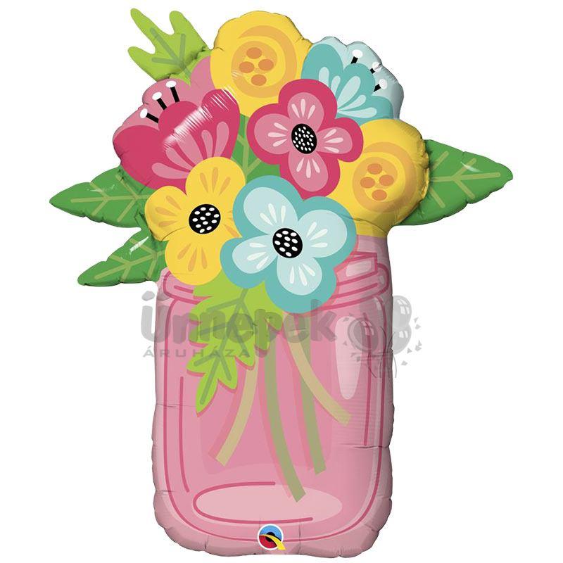 36 inch-es Mason Jar Bouquet Fólia Lufi