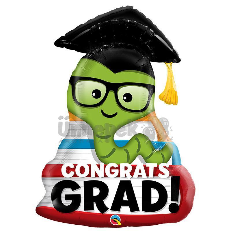 37 inch-es Congrats Grad Bookworm Ballagási Fólia Lufi
