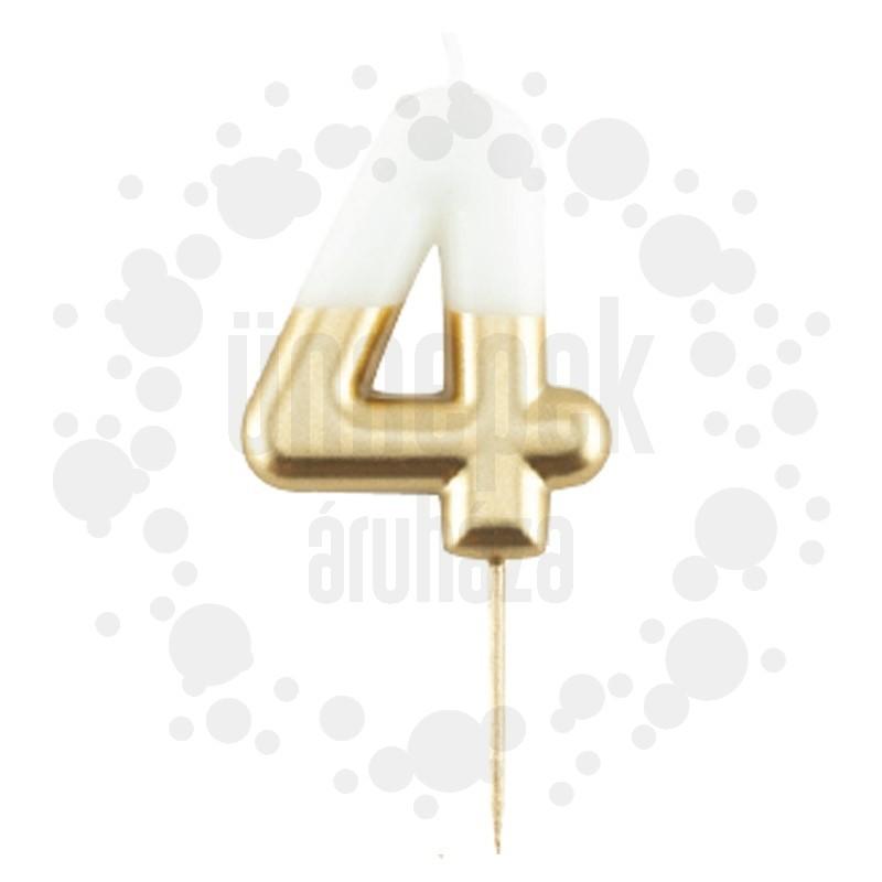 4-es Fényes Fehér Arany Szülinapi Számgyertya