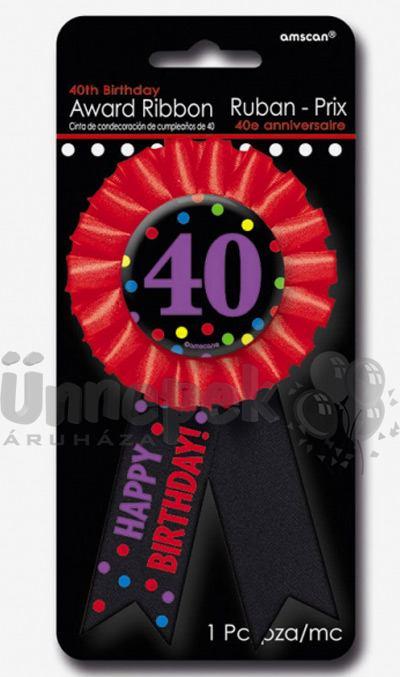 40-es Fekete - Piros Szalagos Színes Pöttyös Szülinapi Kitűző