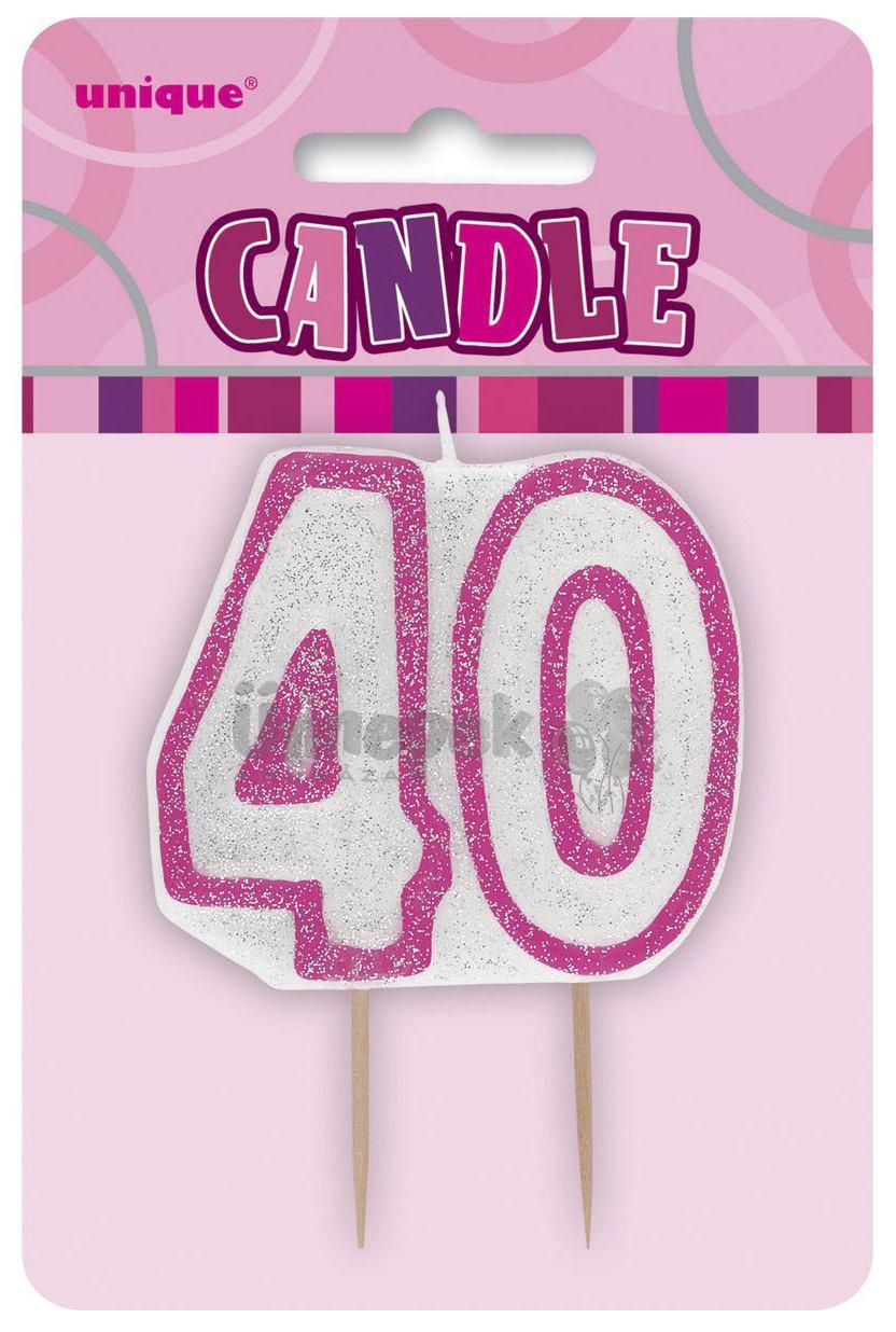 40-es Csillámos Rózsaszín Szülinapi Parti Számgyertya