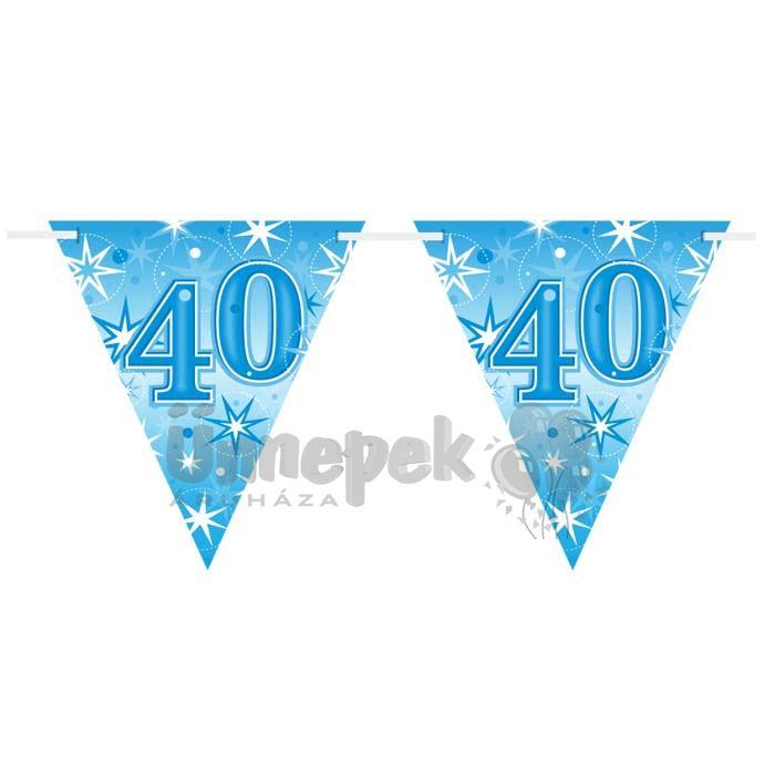 40-es Kék Sparkle Parti Zászlófüzér - 360 cm