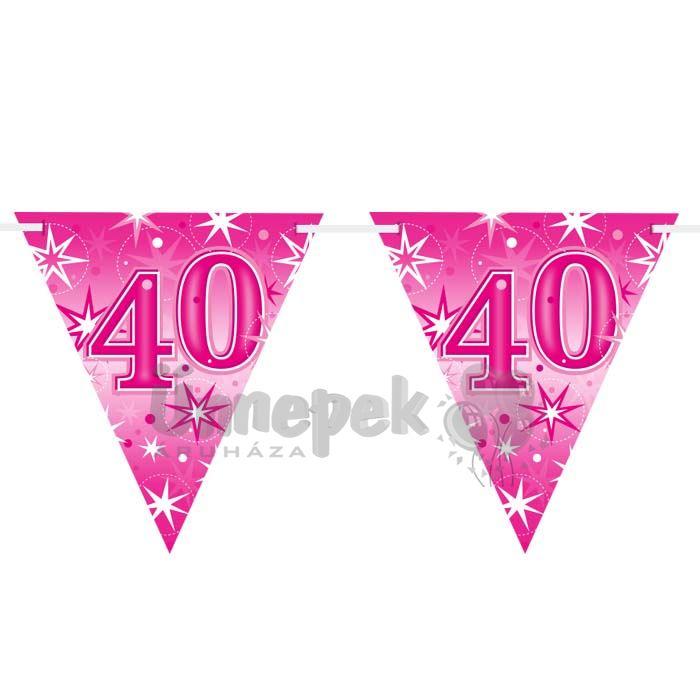 40-es Rózsaszín Sparkle Parti Zászlófüzér - 360 cm