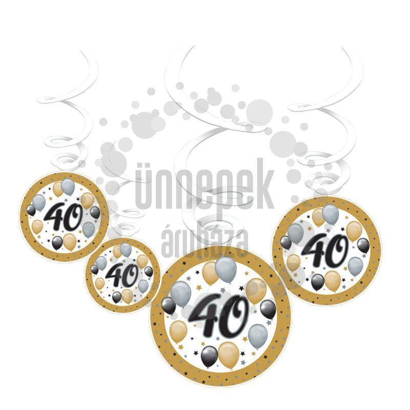 40-es Számos Szülinapi Elegáns Léggömbös Parti Spirális Függő Dekoráció, 6 db-os