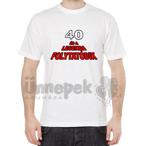 szülinapi ajándék 40 éves férfinak Póló Szülinapra   40 Éves És A Legenda Folytatódik   L es szülinapi ajándék 40 éves férfinak