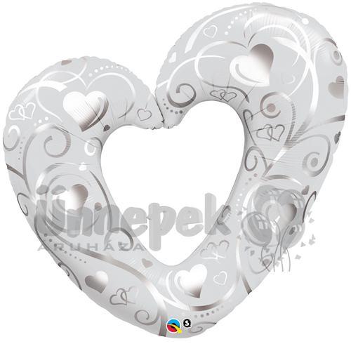 5035060404 Fehér Esküvői Szív Héliumos Fólia Lufi, 107 cm