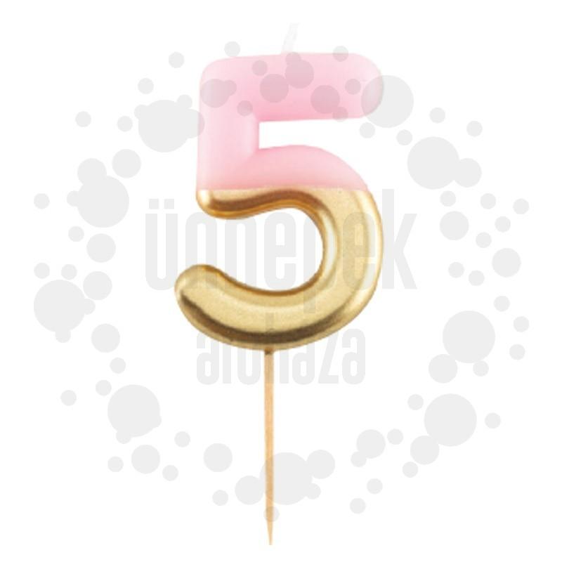5-ös Fényes Pink Arany Szülinapi Számgyertya