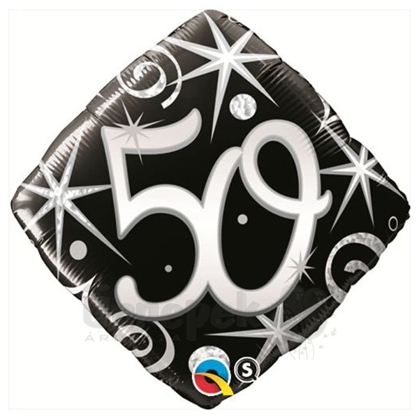 18 inch-es 50-es Elegant Sparkles and Swirls Szülinapi Héliumos Fólia Lufi
