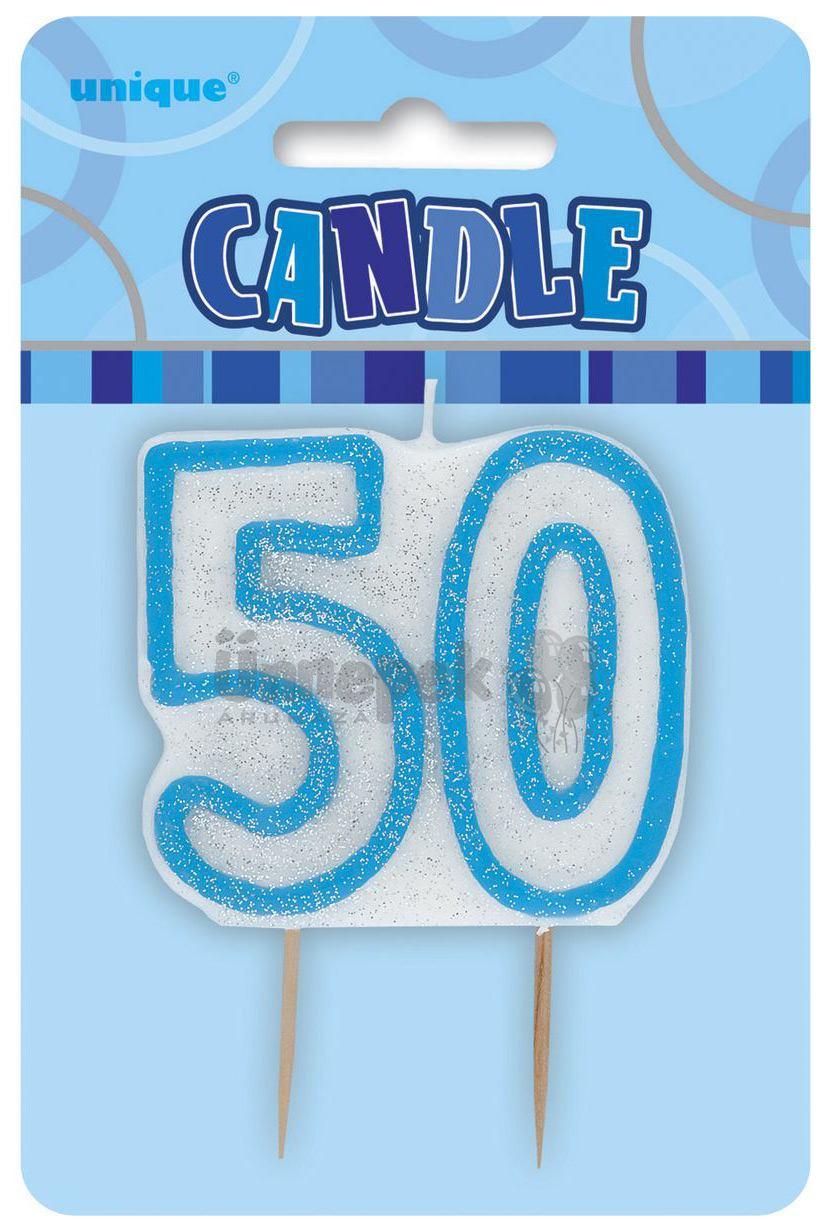 50-es Csillámos Kék Szülinapi Parti Számgyertya