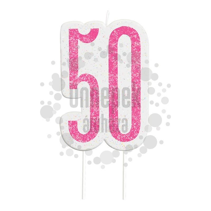50-es Csillámos Pink Szülinapi Parti Számgyertya