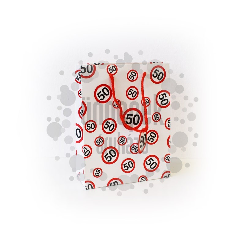 Kicsi - 50-es Számos Sebességkorlátozós Ajándéktasak Szülinapra