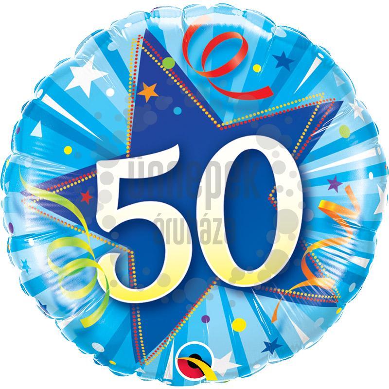 18 inch-es 50-es Shining Star Bright Blue Szülinapi Számos Fólia Lufi