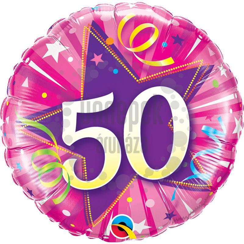 18 inch-es 50-es Shining Star Hot Pink Szülinapi Számos Fólia Lufi