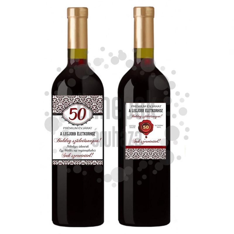 50-es Számos Születésnapi Üveg Címke, Damask, 2 db-os