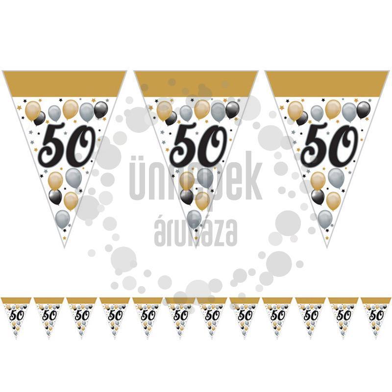 50-es Számos Szülinapi Elegáns Léggömbös Parti Zászlófüzér - 5 m