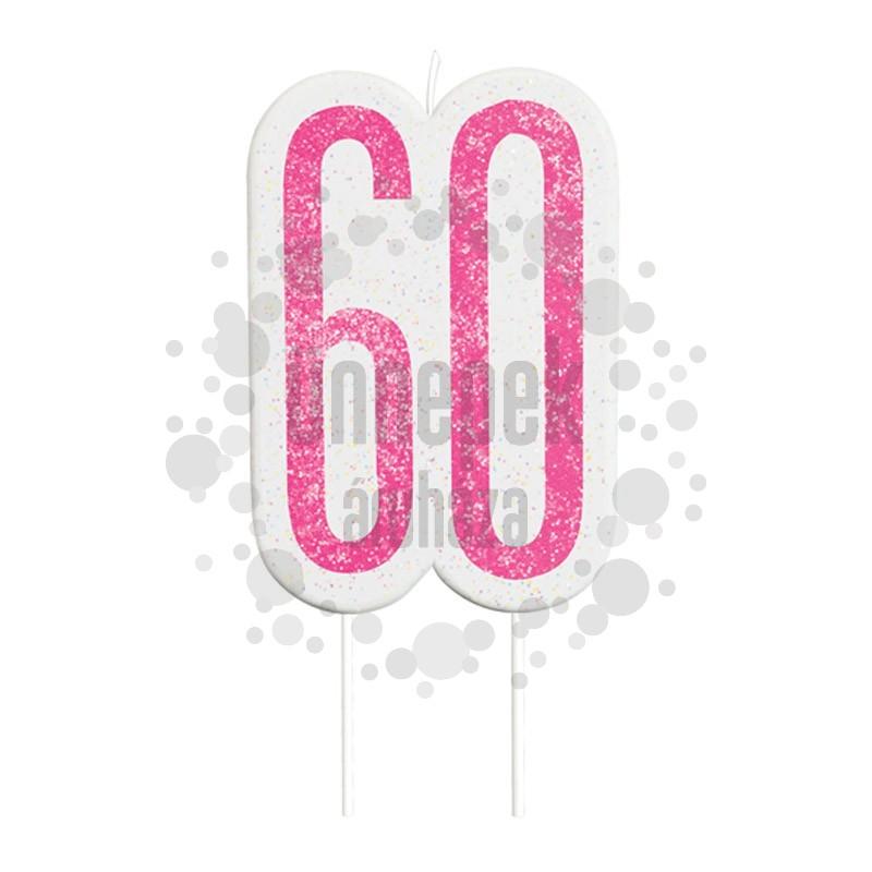60-as Csillámos Pink Szülinapi Parti Számgyertya