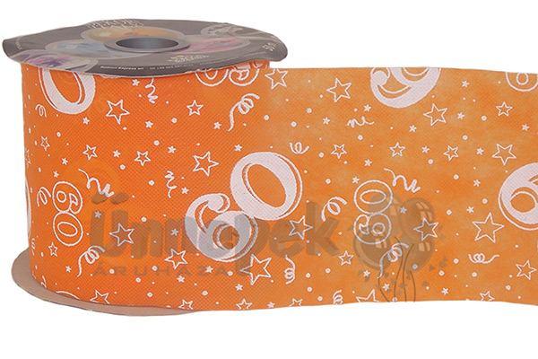 60-as Narancssárga Szülinapi Dekorációs Szalag, 12,5 cm, 50 méteres