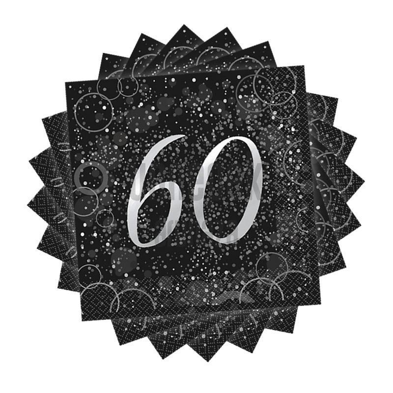 60-as Számos Ezüst Glitz Parti Szalvéta - 33 cm x 33 cm, 16 db-os
