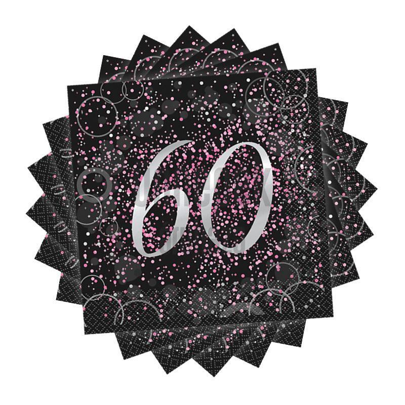 60-as Számos Pink Glitz Parti Szalvéta - 33 cm x 33 cm, 16 db-os