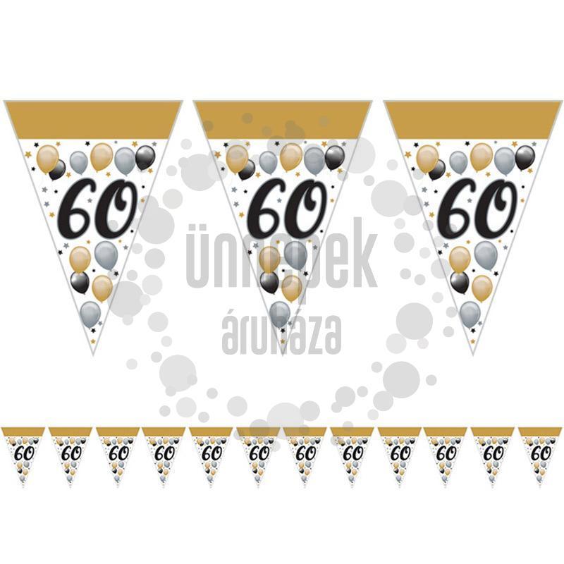 60-as Számos Szülinapi Elegáns Léggömbös Parti Zászlófüzér - 5 m