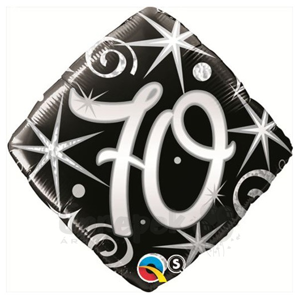18 inch-es 70-es Elegant Sparkles and Swirls Szülinapi Héliumos Fólia Lufi