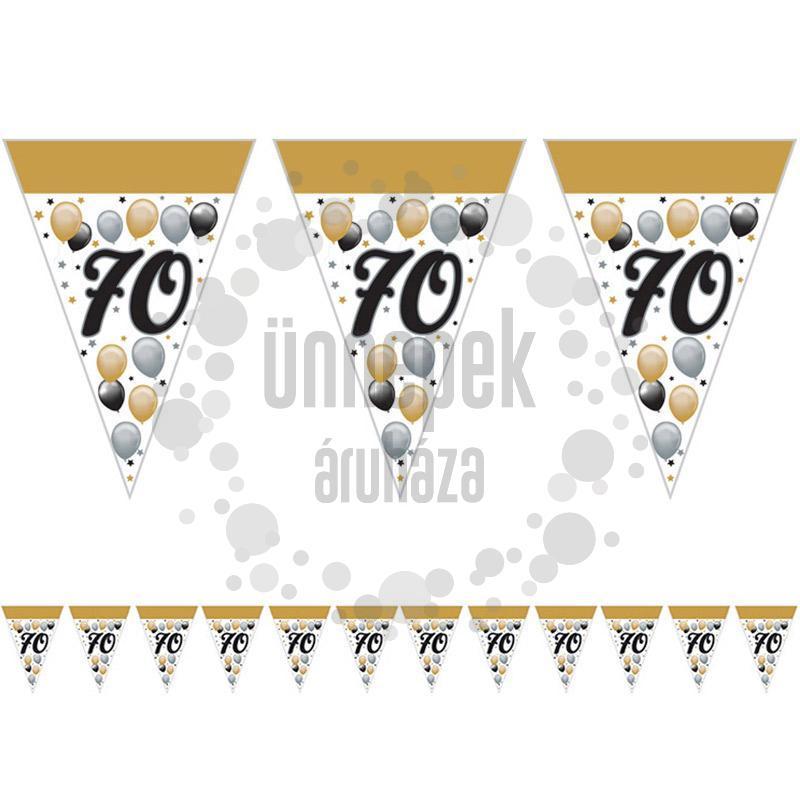 70-es Számos Szülinapi Elegáns Léggömbös Parti Zászlófüzér - 5 m