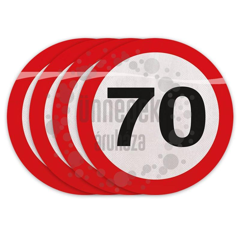 70-es Számos Sebességkorlátozó Szülinapi Parti Szalvéta - 30 cm, 20 db-os