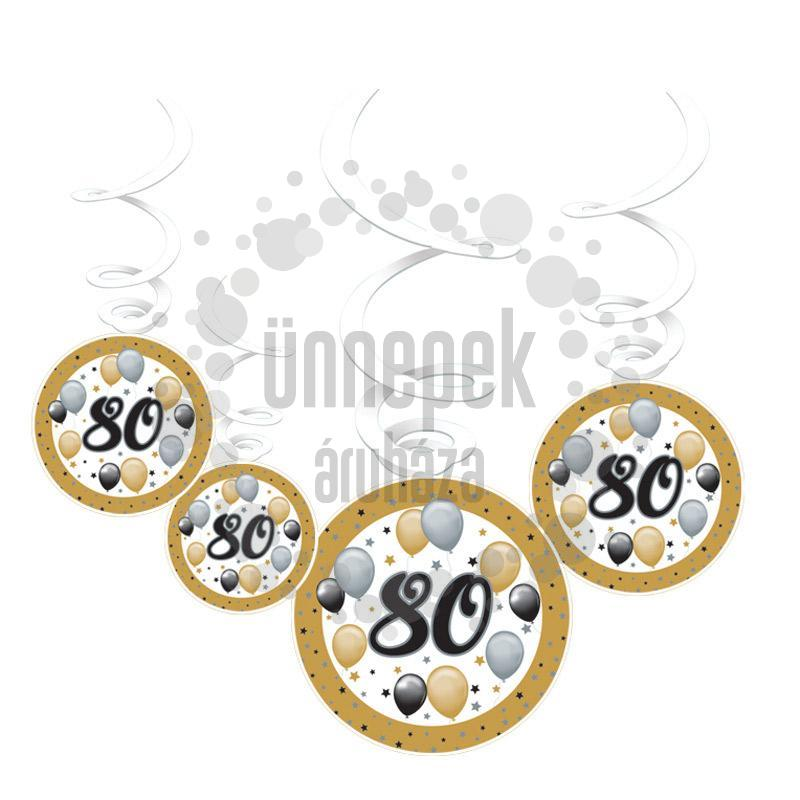 80-as Számos Szülinapi Elegáns Léggömbös Parti Spirális Függő Dekoráció, 6 db-os