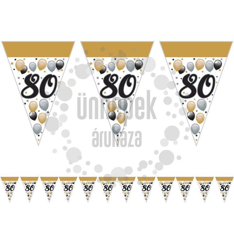 80-as Számos Szülinapi Elegáns Léggömbös Parti Zászlófüzér - 5 m