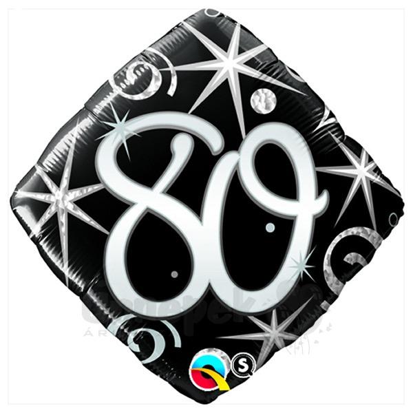 18 inch-es 80-as Elegant Sparkles and Swirls Szülinapi Héliumos Fólia Lufi