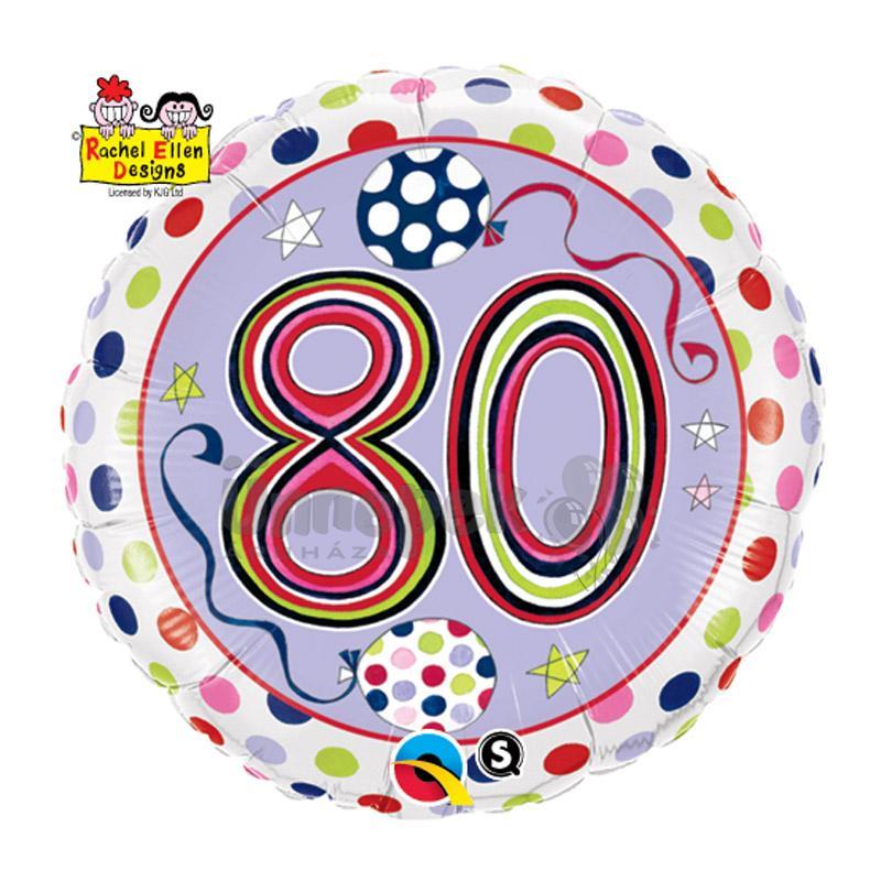 18 inch-es 80-as Számos Polka Dots and Stripes Szülinapi Héliumos Fólia Lufi