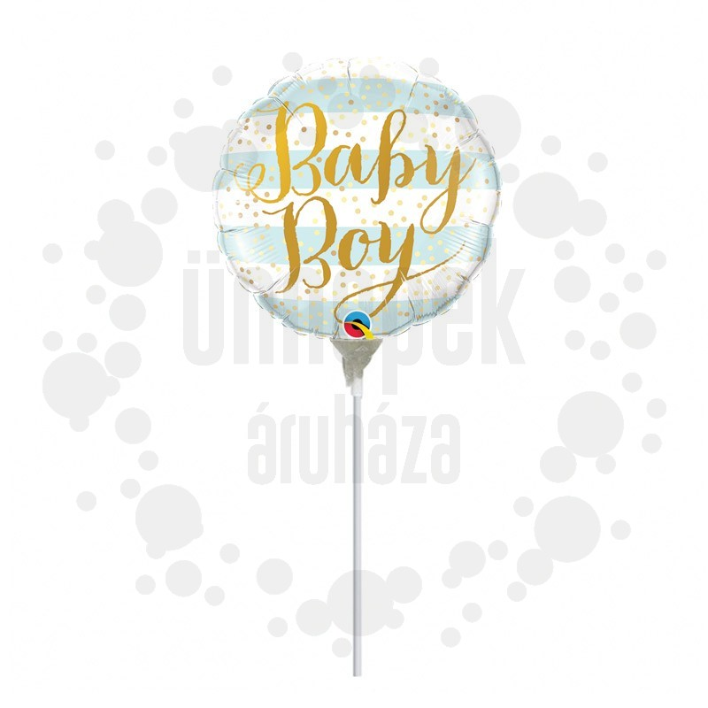 9 inch-es Baby Boy Blue Stripes Fólia Lufi Pálcán