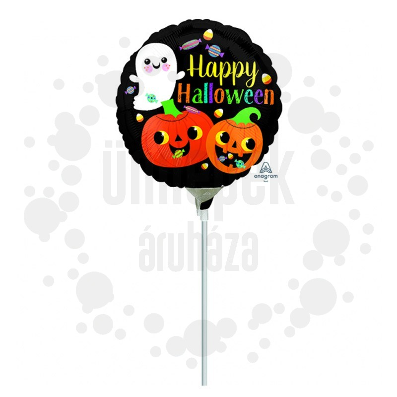9 inch-es Happy Ghost & Pumpkins Minishape Fólia Lufi (5 db/csomag)