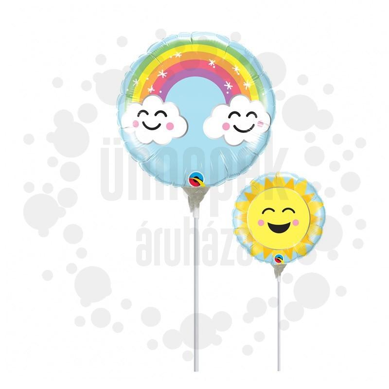 9 inch-es Szivárvány Mintás - Sunshine Rainbow Fólia Lufi Pálcán