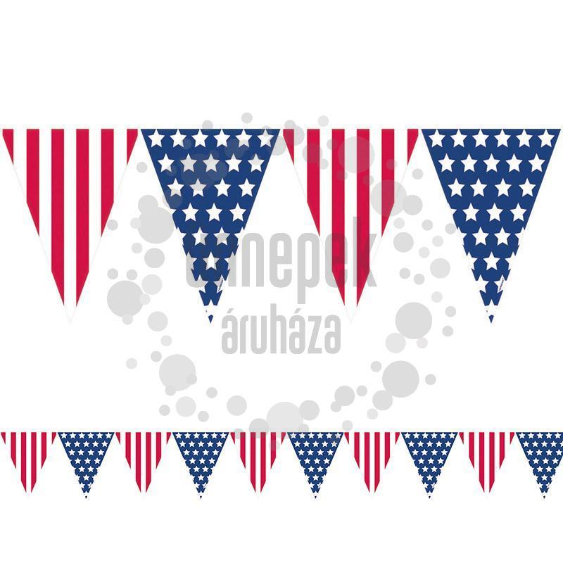 Amerikai Zászlós Mintás Parti Zászlófüzér - 365 cm