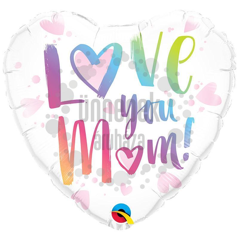 18 inch-es Love You M(Heart)M Szív Alakú Fólia Lufi Anyák Napjára