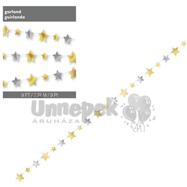 Arany-Ezüst Csillag Dekorációs Füzér - 274 cm